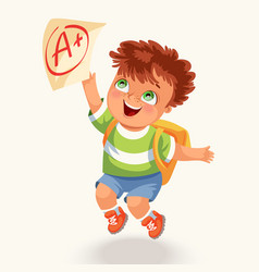 Smiling boy with test paper mark vector
