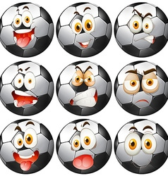 Soccer ball with facial expressions vector image