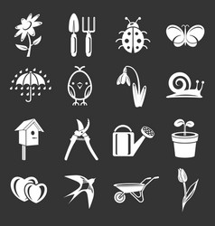 spring icons set grey vector image