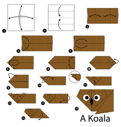 Step instructions how to make origami a koala vector