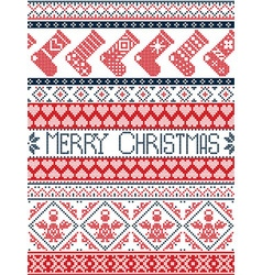 Tall xmas pattern with stockings in red blue vector image
