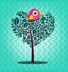 Tree with bird on retro background vector
