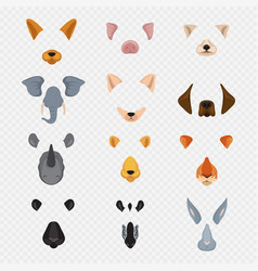 Video mobile chat animal faces cartoon animals vector