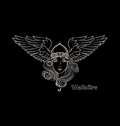 Viking design valkyrie in a winged helmet image vector