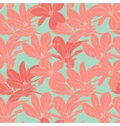 Vintage magnolia flowers seamless pattern vector image