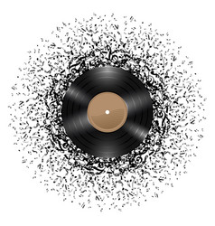vinyl disc with mass of music notes around it on vector image