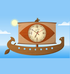 Wall clock ancient egyptian galley stylization vector