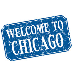 Welcome to chicago blue square grunge stamp vector