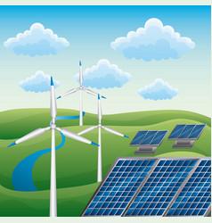 wind turbine solar panel alternative energy source vector image
