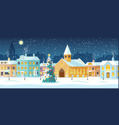 winter cityscape snowy street with christmas tree vector image