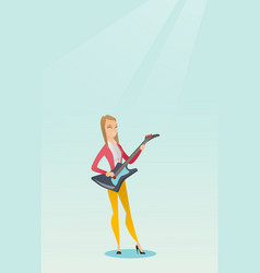 Woman playing the electric guitar vector