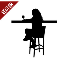 woman silhouette sitting at a table in the cafe vector image