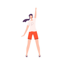 young woman standing with her fist raised up vector image