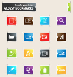 school bookmark icons vector image vector image