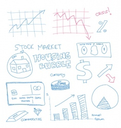 scribble finance icons vector image vector image