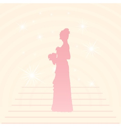 Young elegant bride holding flowers vector image vector image