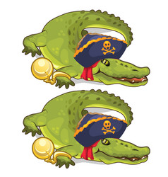 crocodile in gold chains and in pirate hat vector image vector image