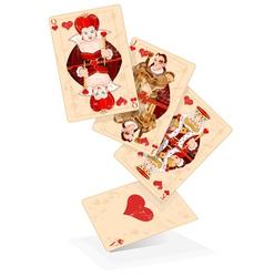 Hearts play cards vector