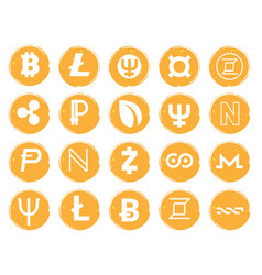 twenty golden icons with white images of vector image vector image