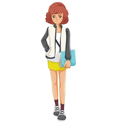 A lady standing holding a book vector image vector image
