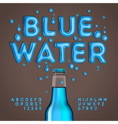 Blue water alphabet and numbers vector image vector image