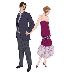 couple on party in vintage style 1920s vector image