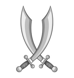 crossed pirate sabers icon monochrome vector image