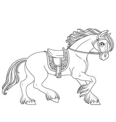 cute cartoon horse harnessed in a harness runs vector image vector image
