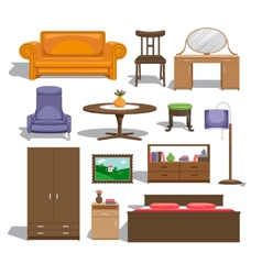 Furniture for bedroom vector