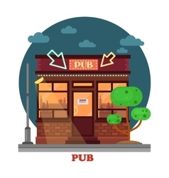 Side street view on night pub with aclohol vector image vector image