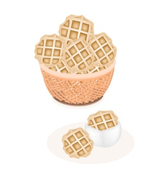 Two Baked Round Waffles in A Brown Basket vector image