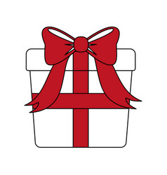 color silhouette image giftbox with red wrapping vector image vector image