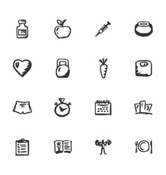 doodle fitness icons set vector image vector image