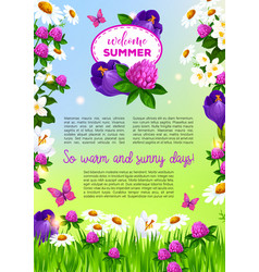 Flowers poster for welcome summer greetings vector