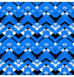 Hand drawn plaid pattern with zigzag lines vector