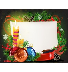 Paper scroll with candles and Christmas balls vector image vector image