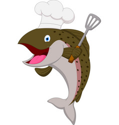 salmon chef fish cartoon vector image