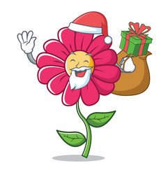 santa pink flower character cartoon vector image