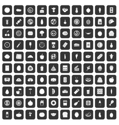 100 nutrition icons set black vector