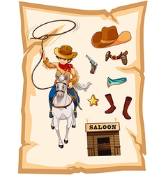 A paper with a drawing of a cowboy and a saloon vector