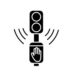 Acoustic traffic lights signals black glyph icon vector