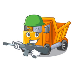 Army cartoon truck on the table learn vector