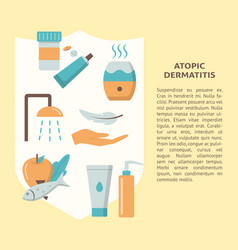 Atopic dermatitis treatment concept banner in flat vector
