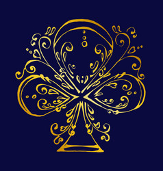 Beautiful ace clubs in gold colors vector