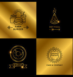 black and golden fast food restaurant and cafe vector image