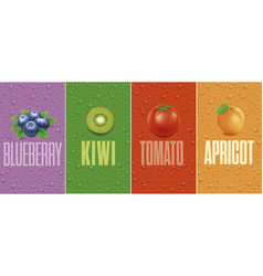 blueberry kiwi tomato apricot with juice drops vector image