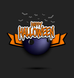 Bowling ball and happy hallowen vector