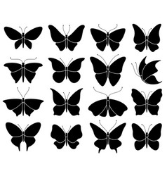 Butterfly silhouettes black stencil insect vector