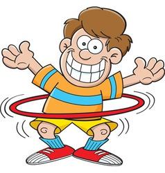 Cartoon boy with a hula hoop vector