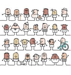 Cartoon group mixed social and ethnically vector